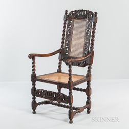 Carved Walnut and Caned High-back Open Armchair