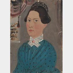 Attributed to William Matthew Prior (Massachusetts/Maine, 1806-1873)      Portrait of a Woman in a Blue Dress