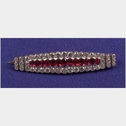 Edwardian Ruby and Diamond Bar Pin