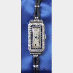 Art Deco Lady's Platinum and Diamond Wristwatch, Patek Philippe