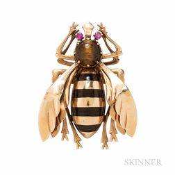 Large 14kt Gold, Tiger's-eye Quartz, and Enamel Bee Brooch