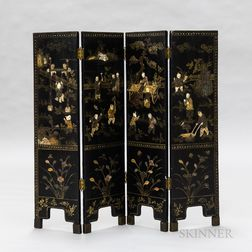 Four-panel Double-sided Black Lacquered Wall Screen