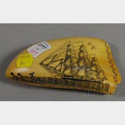 Scrimshaw Decorated Whale's Tooth
