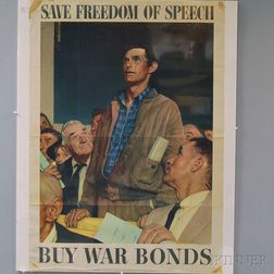 Two Norman Rockwell U.S. WWII Freedoms   Lithograph Posters