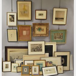 Approximately Twenty-two Framed Prints and Etchings