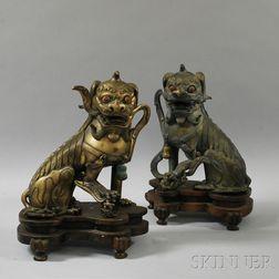 Pair of Cast Bronze Shishi   Lions