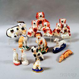 Fifteen Staffordshire Ceramic Animal Figures
