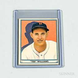 1941 Play Ball #14 'Ted' Williams Baseball Card.     Estimate $200-300