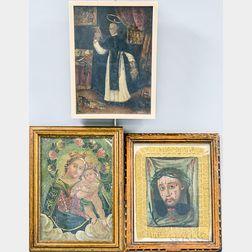 Three Framed Painted Retablos