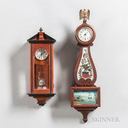 Two Miniature Reproduction Wall Clocks