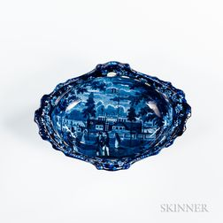 "Staffordshire Historical Blue Transfer-decorated ""Esplanade & Castle Garden N.Y."" Fruit Basket"