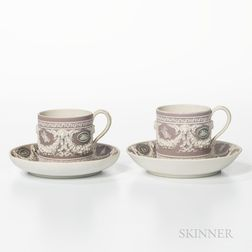 Two Wedgwood Tricolor Jasper Dip Cans and Saucers