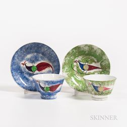 "Two Spatterware ""Peafowl"" Pattern Cups and Saucers"