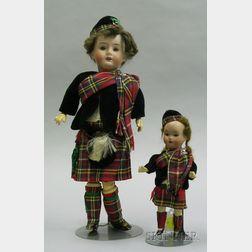 Two German Bisque Dolls in Scottish Dress