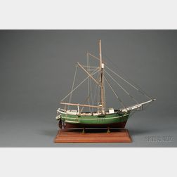 Painted Wooden Ship Model of Northwest Passage Sloop Gjöa