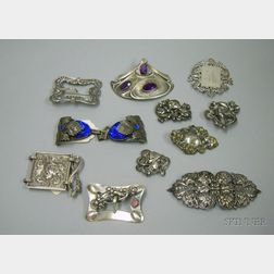 Assortment of Silver and Other Metal Belt Buckles and Jewelry