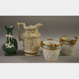 Pair of German Classical-style Gilt Porcelain Cache Pots, a Jasper Figural Vase, and an English Salt Glazed Molded Stoneware Pitcher...