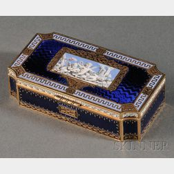 French Yellow Gold and Enamel Snuff Box