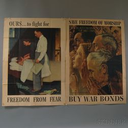 Three Norman Rockwell U.S. WWII Freedoms   Lithograph Posters