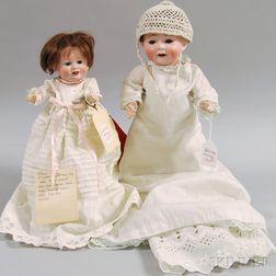 Two German Bisque Head Character Babies
