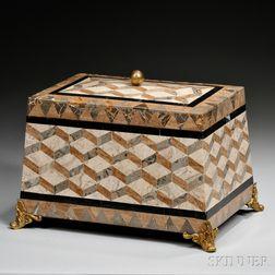 Ormolu-mounted Casket-form Marble-inlaid Box