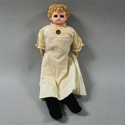 Blonde Papier-mache Shoulder Head Girl Doll