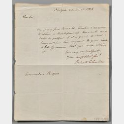 Clinton, DeWitt (1769-1828) Autograph Letter Signed, 22 March 1815.
