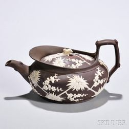 Wedgwood Redware Prunus Teapot and Cover