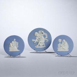 Three Wedgwood Solid Light Blue Jasper Roundels