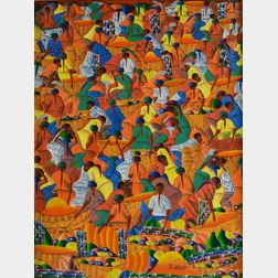 Haitian School, 20th Century      Market Scene