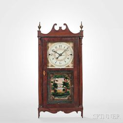Erastus Hodges Mahogany Pillar and Scroll Shelf Clock