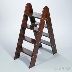 Folding Mahogany Library Ladder