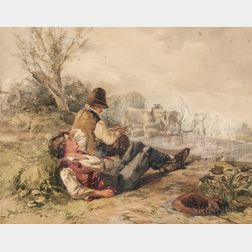 British School, 19th Century    Two Boys at Rest in a Field