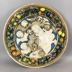 Italian Della Robbia Glazed Ceramic Roundel of the Madonna and Child