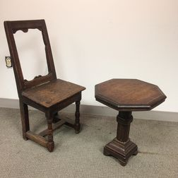 Jacobean Oak Chair and a Small Side Table