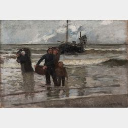 Eugène Laurent Vail (American/French, 1857-1934)      Dutch Family Coming Ashore