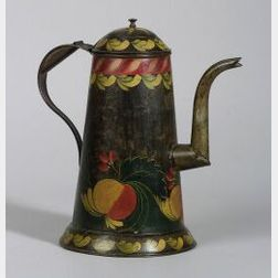 Paint Decorated Tinware Coffeepot
