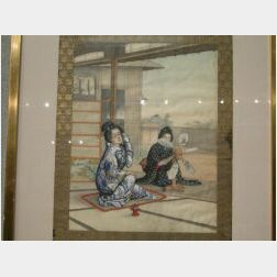 Framed Japanese Painting on Silk of Two Seated Women with Mechanical Fan.