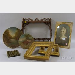 Four Late Victorian Gilt-gesso Frames, a Gilt-metal Wire Frame with Convex Glass, Two Painted Landscape Decorat...