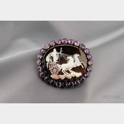 Antique Sardonyx Cameo and Amethyst Brooch, Domenico Calabresi, Rome