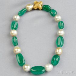 Emerald and Baroque South Sea Pearl Necklace, Christopher Walling