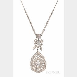 Edwardian Platinum and Diamond Pendant Necklace