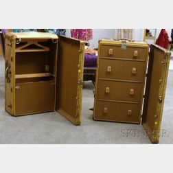 Two Vintage Brass-bound Leather Wardrobe Trunks
