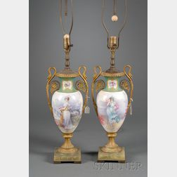 Pair of Sevres-style Gilt Metal Mounted Porcelain Lamp Bases