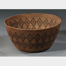 Yokuts Polychrome Coiled Basketry Bowl
