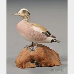 Miniature Carved and Painted Male Baldpate Duck Figure