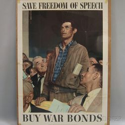 Norman Rockwell U.S. WWII Freedom of Speech   Lithograph Poster