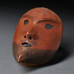 Eskimo Carved and Painted Wood Mask