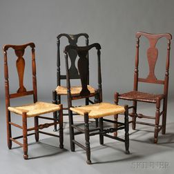 Assembled Set of Four Queen Anne Vase-back Dining Chairs