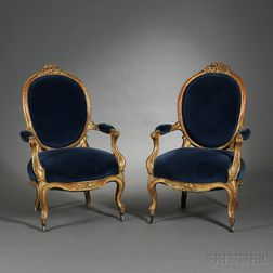 Pair of Louis XV-style Giltwood Fauteuils